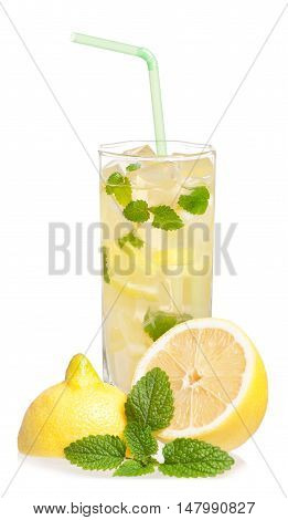 Glass of lemonade with lemon and mint isolated on white background