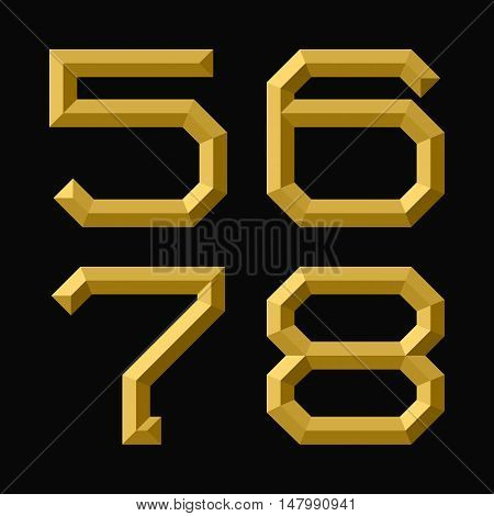Five six seven eight gold faceted numbers. Trendy and stylish golden font.