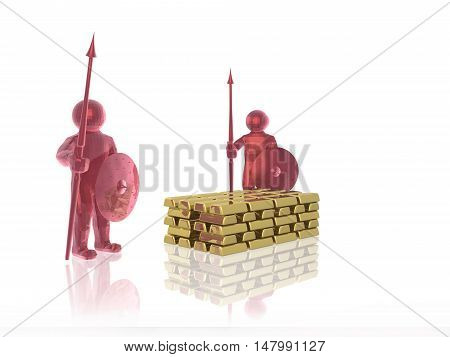 Red armed mans with gold on white background, 3D illustration.