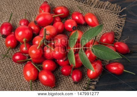 fresh rose hips on a wooden table with sacking.