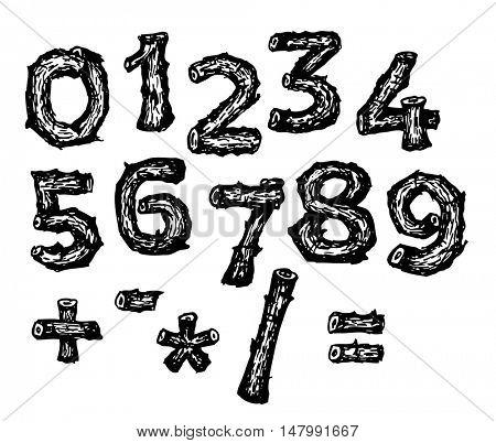 Black hand drawn alphabet font made from oak wooden sticks