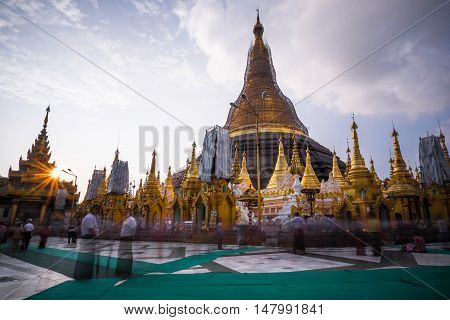 Shwedagon Pagoda repair every five years at a time so as not to become black gold.