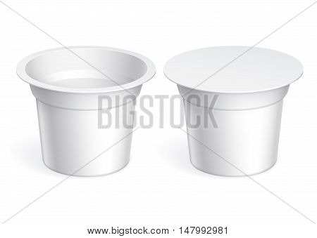 White blank plastic container for yogurt jams and other products. Vector illustration