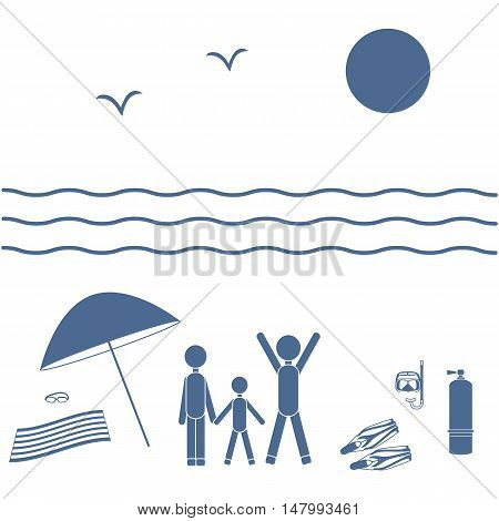 Nice Picture Of The Family Holiday By The Sea: Sun, Waves, Seagulls, Beach Umbrella, Diving Equipmen