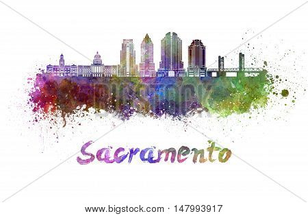 Sacramento V2 skyline in watercolor splatters with clipping path