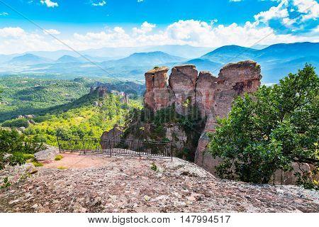 Vibrant image of Belogradchik cliff rocks near ancient Kaleto, Bulgaria