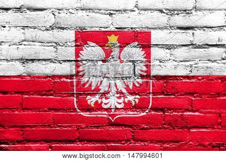 Flag Of Poland With Coat Of Arms, Painted On Brick Wall