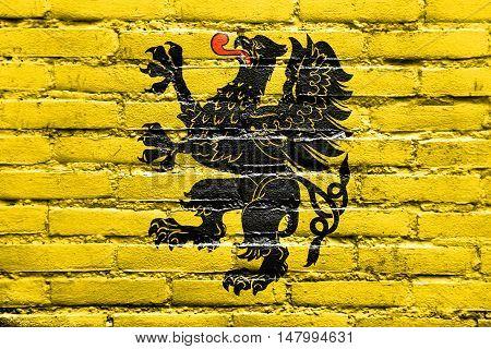 Flag Of Pomeranian Voivodeship, Poland, Painted On Brick Wall