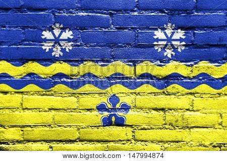 Flag Of Prince George, British Columbia, Canada, Painted On Brick Wall