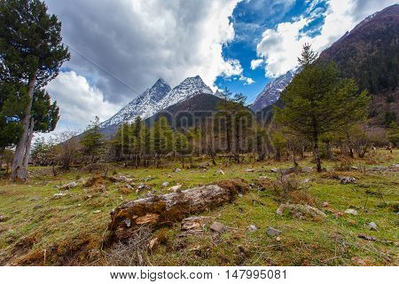 Four Maiden's Mountain (Mt. Siguniangshan) Scenic Area is an unspoiled wilderness park located in western china and Qiang Autonomous Prefecture Sichuan Province China
