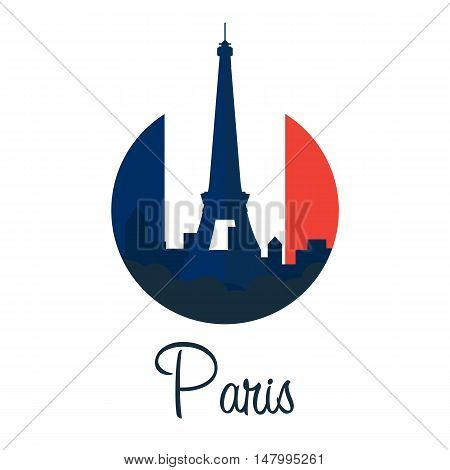 Paris. Tourism. Eiffel Tower. France. Modern Flat Design.