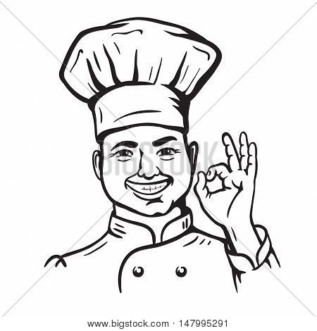 chief-cooker. vector cartoon on a white background