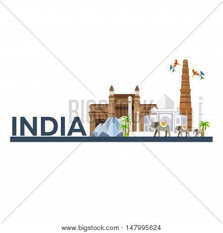 India. Indian Architecture. Tourism. Travelling Illustration India. Modern Flat Design. Taj Mahal, L
