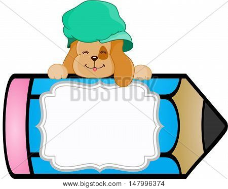 Scalable vectorial image representing a dog with pencil personalized label sticker, isolated on white.