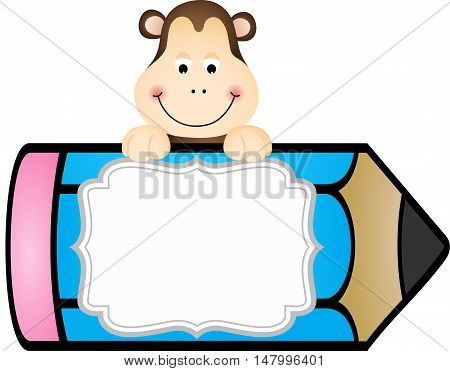 Scalable vectorial image representing a monkey with pencil personalized label sticker, isolated on white.