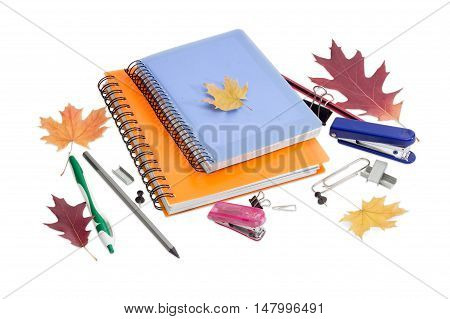 Two paper notebooks with yellow and blue cover and spiral binding ball pen pencils other stationery and a few autumn leaves on a light background.