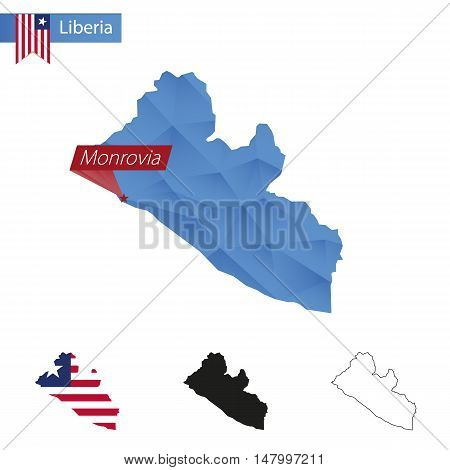 Liberia Blue Low Poly Map With Capital Monrovia.