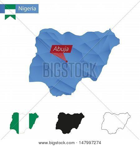 Nigeria Blue Low Poly Map With Capital Abuja.