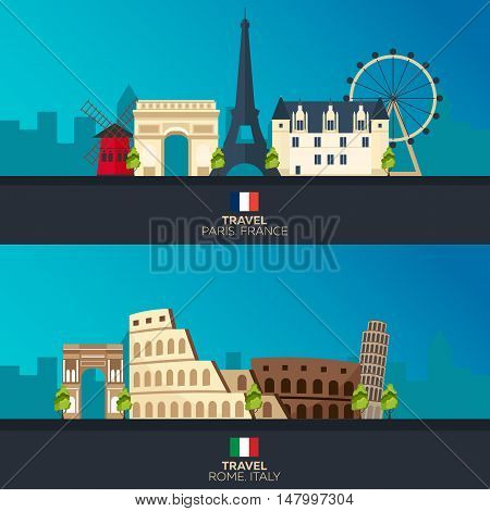 Rome And Paris. Tourism. Travelling Illustration Rome And Paris City. Modern Flat Design. Italy Trav
