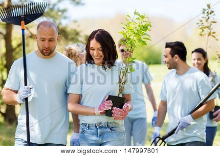volunteering, charity, people and ecology concept - group of happy volunteers with tree seedlings and rake walking in park