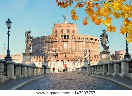 view of castle saint Angelo and bridge at sunny fall day, Rome, Italy