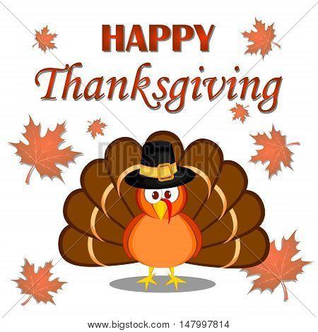 Beautiful cartoon turkey bird. Happy Thanksgiving celebration. Orange background. Usable as poster banner or postcar