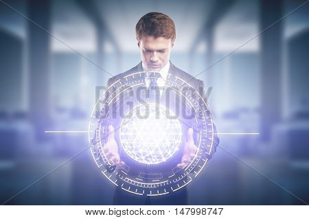 Man Holding Abstract Digital Model