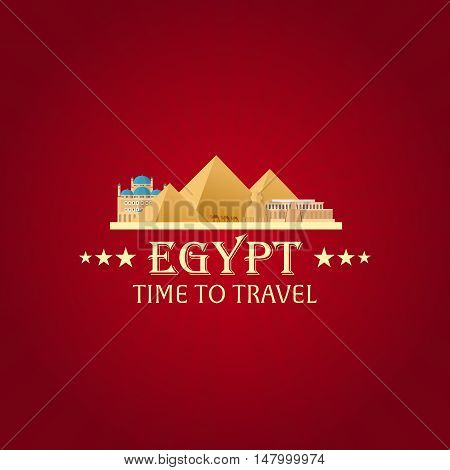 Egypt. Tourism. Travelling Illustration. Modern Flat Design. Egypt Travel. Pyramid