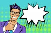 Pop Art Man. Young Hansome Man In Glasses Smiles, Winks And Shows Thumb Up . Vector Illustration In poster