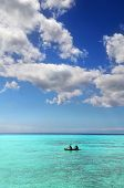 Kayak on the colorful waters of tropical destination poster