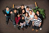 foto of ethnic group  - Young men and women of diverse ethnic groups standing together - JPG