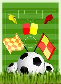 picture of offside  - soccer field with ball cards offside flag and whiste - JPG
