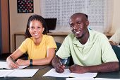 image of students classroom  - two african american students in classroom - JPG