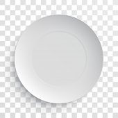 Empty white dish plate background. Vector round dinner plate. Illustration on transparent background poster