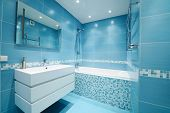 stock photo of interior  - Modern luxury bathroom blue interior - JPG