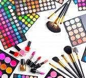 Постер, плакат: Makeup Make up Set Palette with colorful eyeshadows Various cosmetics Brushes lipgloss lipstick