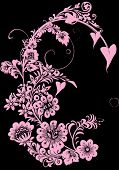 stock photo of beautiful flower  - pink flower ornament on black background - JPG