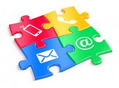 Website contact us concept - colorful puzzles witn contacts icons. 3d illustration poster