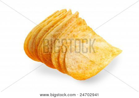 Handful of potato chips