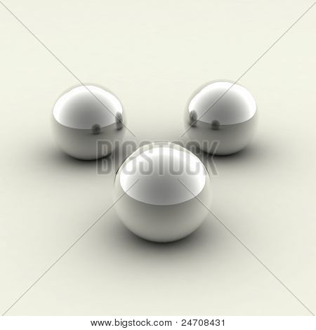 three chrome balls