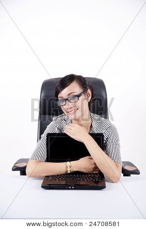 Young Beautiful Woman Hugging Her Laptop