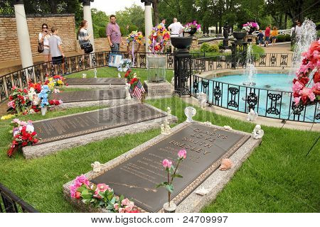 Memorial Garden at Graceland Memphis with Elvis Presley's Grave