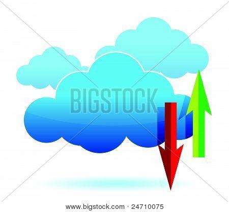 cloud computing upload, download illustration