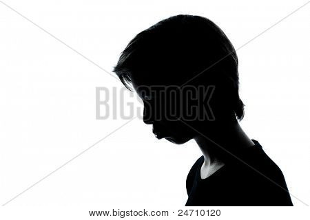 one caucasian young teenager silhouette boy or girl portrait moody pouting sad in studio cut out isolated on white background
