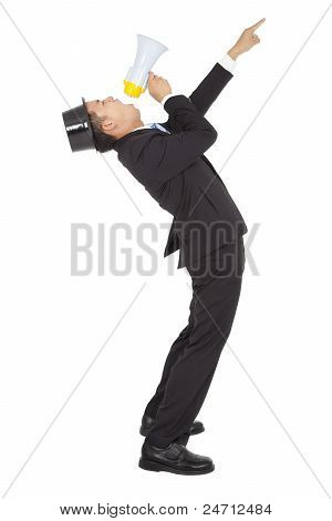 Businessman Using a Megaphone and pointing