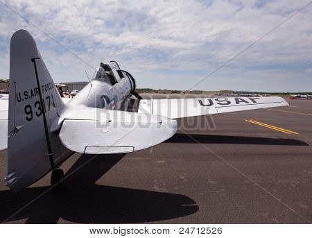 At-6 Texan Aircraft On Runway.