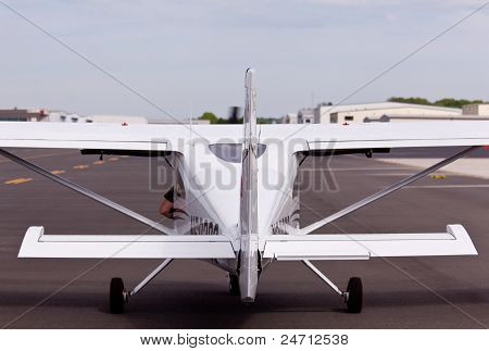 Rear view of private plane