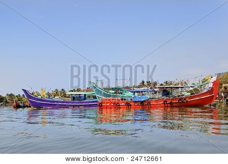 Colorful Fishing Boats Moored At Kochin Backwaters India