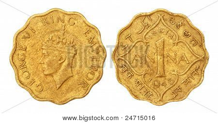 Old Indian One Ana Coin of 1943