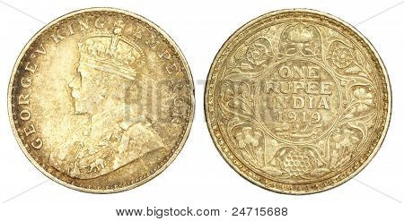 Vieja moneda de una Rupia india de 1919